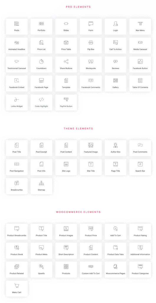 Pro Widgets of Elementor Page Builder