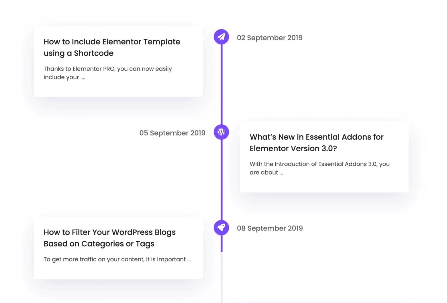 Elementor Widget Content Timeline of Essential Addons