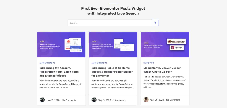 Elementor Posts Widget Example PowerPack
