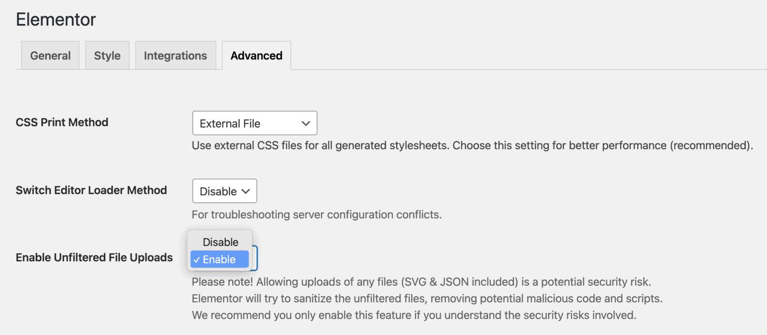 Elementor Settings Enable Unfiltered File Uploads