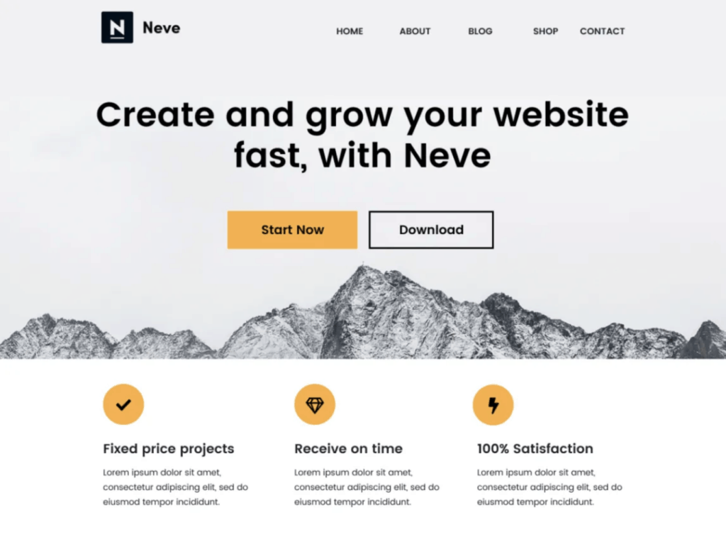 Neve WordPress Theme with best Elementor Performance
